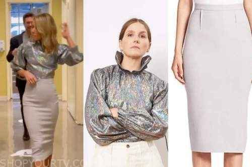 live with kelly and ryan, kelly ripa, silver metallic top, pencil skirt