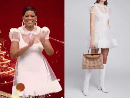 tamron hall, tamron hall show, white tulle puff sleeve dress