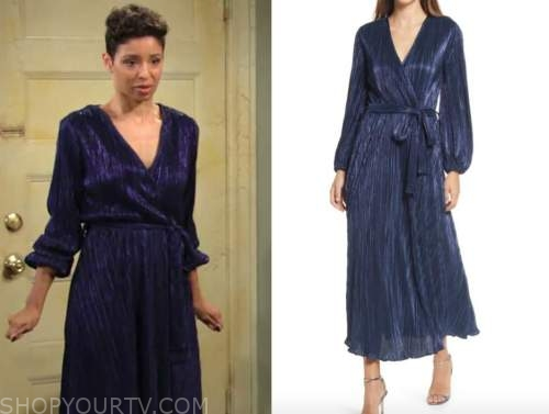 elena dawson, brytni sarpy, blue metallic wrap midi dress, the young and the restless
