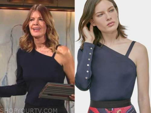 michelle stafford, phyllis newman, blue one-shoulder top, the young and the restless