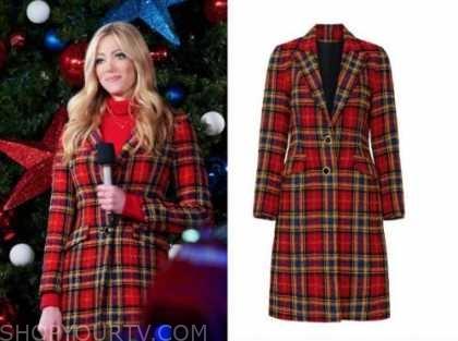 abby hornacek, fox nation, christmas tree lighting, red tartan plaid coat