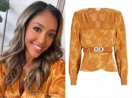 tayshia adams, the bachelorette, orange yellow satin floral jacquard blouse, the ellen show