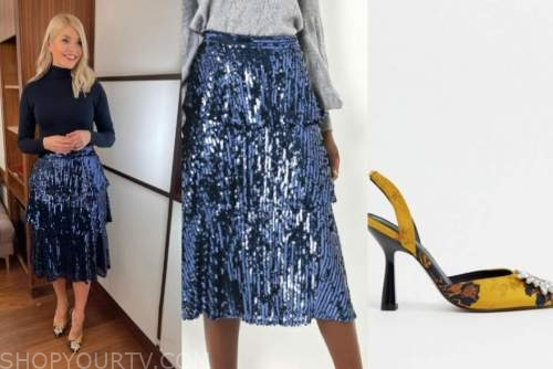this morning, holly willoughby, blue sequin tiered skirt, embellished heels