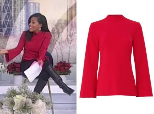 sheinelle jones, red mock neck bell sleeve top, the today show