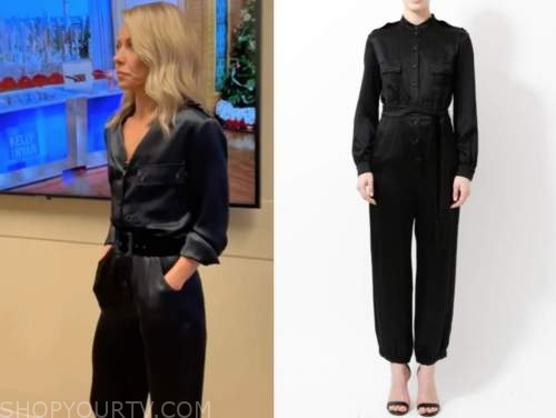 kelly ripa, live with kelly and ryan, black satin jumpsuit