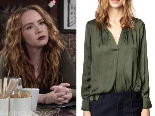 camryn grimes, mariah copeland, green silk blouse, the young and the restless