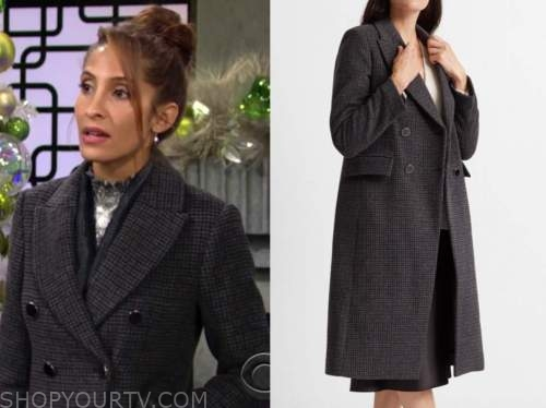 lily winters ashby, christel khalil, grey plaid double breasted coat, the young and the restless