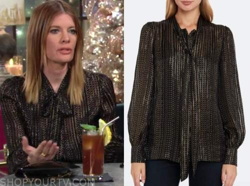 michelle stafford, phyllis newman, metallic tie neck blouse, the young and the restless