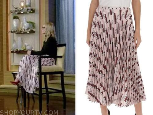 kelly ripa, live with kelly and ryan, pink printed pleated skirt