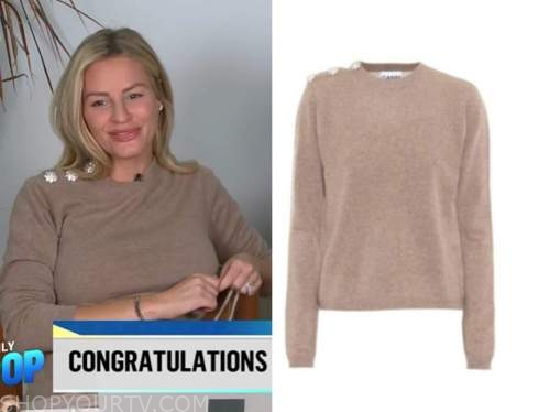 E! news, daily pop, beige embellished button sweater, morgan stewart
