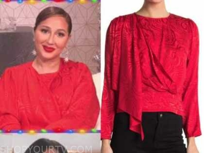 the real, red jacquard satin blouse, adrienne bailon