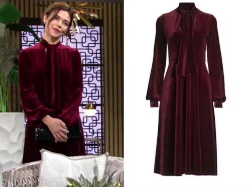 victoria newman, amelia heinle, burgundy velvet tie neck dress, the young and the restless