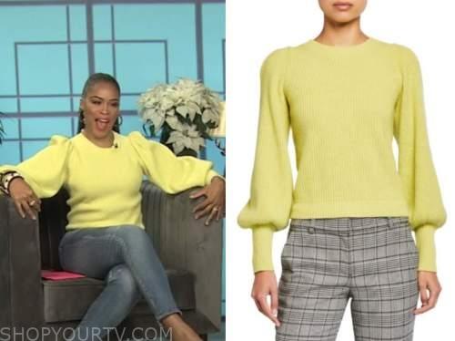 eve, the talk, yellow puff sleeve sweater