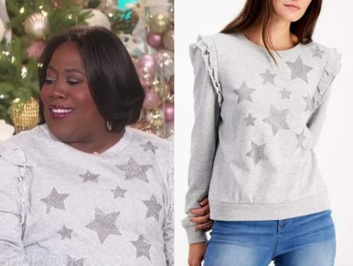 sheryl underwood, the talk, grey embellished star ruffle sweater