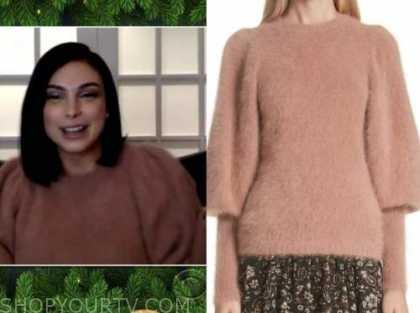 Morena Baccarin, the talk, beige puff sleeve sweater