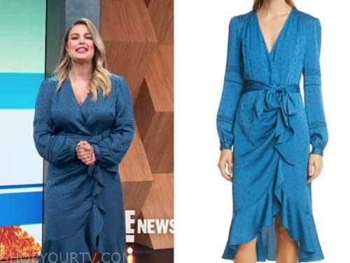 carissa culiner, E! news, blue wrap midi dress