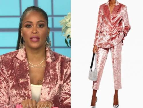 the talk, eve, pink velvet blazer and pant suit