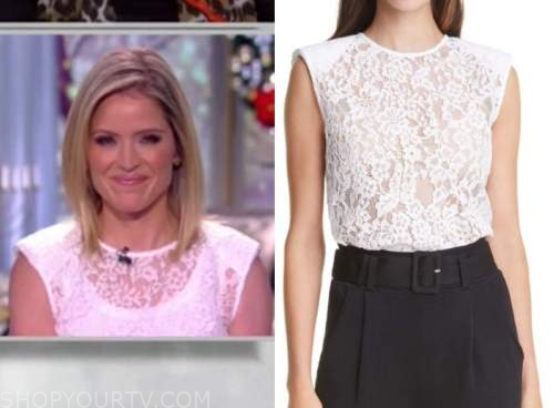 sara haines, the view, white lace top