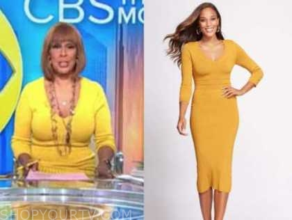 gayle king, cbs this morning, yellow ribbed knit dress