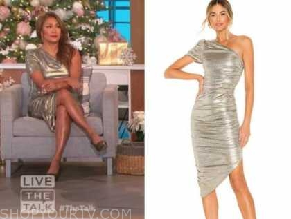 carrie ann inaba, gold metallic one-shoulder dress, the talk