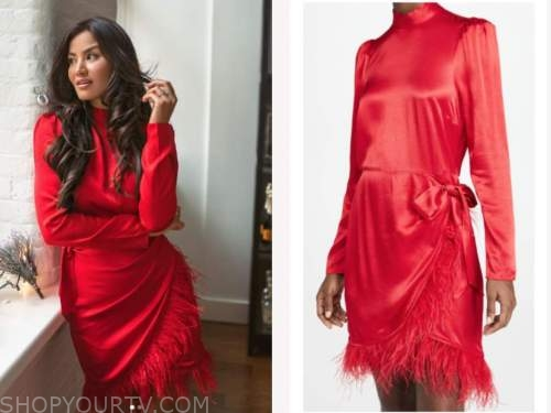 caila quinn, the bachelor, red satin mock neck feather dress