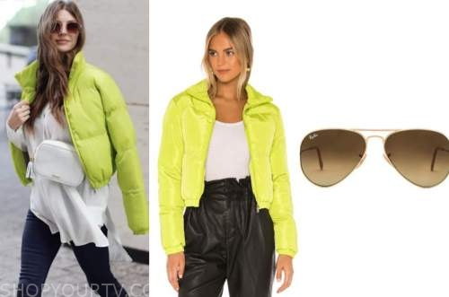 ashlee frazier, lime green jacket, aviator sunglasses