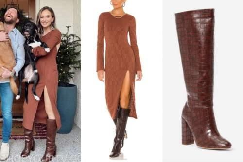lauren bushnell lane, the bachelor, rust brown knit dress, brown boots