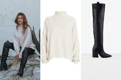 caelynn miller-keyes, the bachelor, ivory turtleneck, black boots