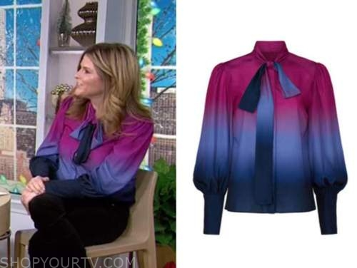 jenna bush hager, the today show, ombre tie dye tie neck blouse