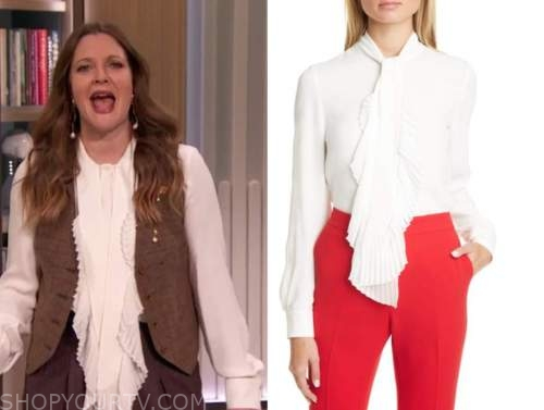 drew barrymore, drew barrymore show, white pleated ruffle tie neck blouse