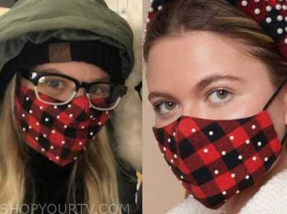 candace cameron bure, red plaid pearl face mask,