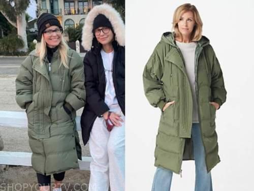 candace cameron bure, green puffer coat,