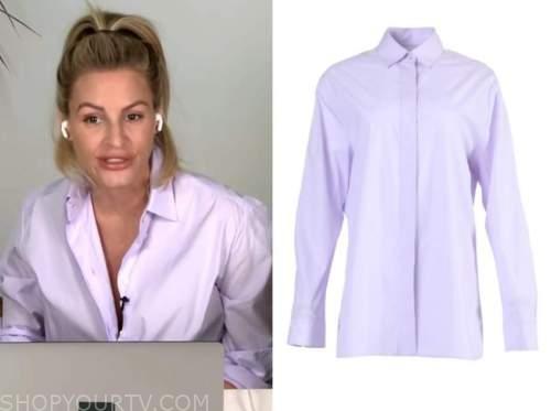 E! news, daily pop, morgan stewart, lilac purple shirt