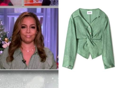 sunny hostin, the view, green twist front shirt