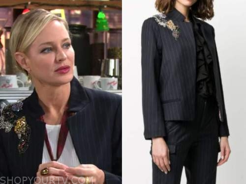 sharon newman, sharon case, the young and the restless, pinstripe floral embellished blazer
