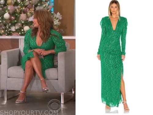 carrie ann inaba, green metallic puff sleeve dress, the talk