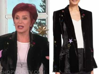 sharon osbourne, the talk, black velvet star blazer