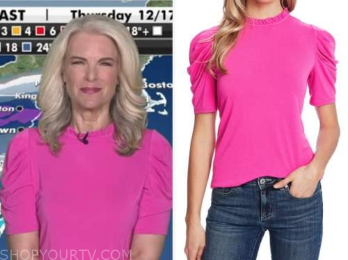 janice dean, hot pink puff sleeve top, fox and friends