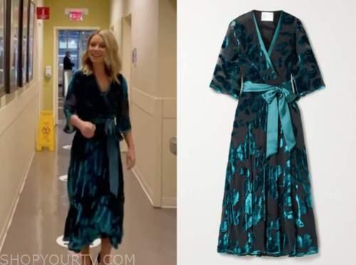 kelly ripa, blue floral velvet wrap midi dress, live with kelly and ryan