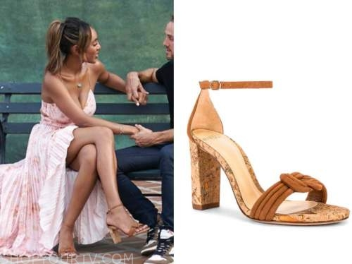 tayshia adams, the bachelorette, brown knot cork sandal heels