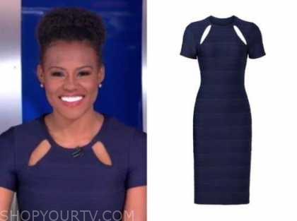 janai norman, good morning america, navy blue cutout dress