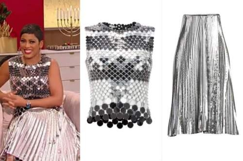 tamron hall, tamron hall show, silver sequin top, silver pleated skirt
