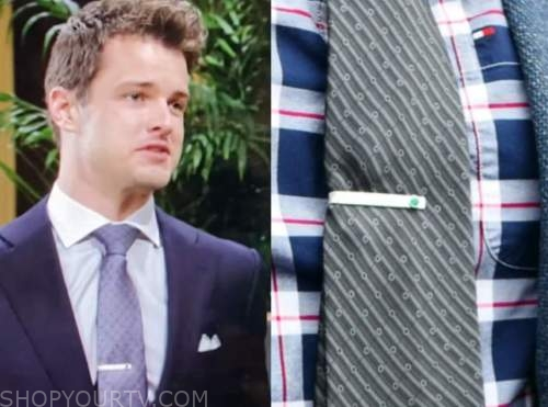 kyle abbott, michael mealor, emerald and silver tie bar, the young and the restless