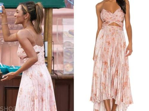 tayshia adams, the bachelorette, pink floral pleated cutout midi dress