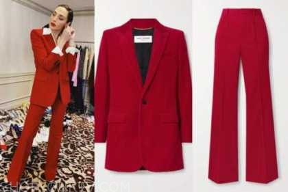 gal gadot, good morning america, red pant suit