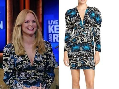 heather graham, live with kelly and ryan, blue and black floral dress