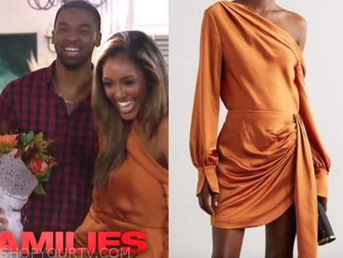 tayshia adams, the bachelorette, orange satin dress