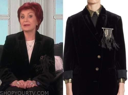 sharon osbourne, the talk, black velvet feather blazer