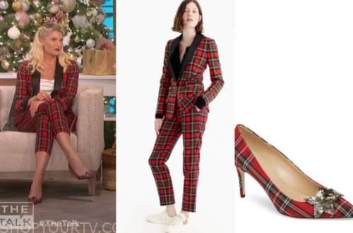 amanda kloots, the talk, red tartan plaid pant suit, tartan plaid red heels