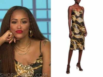 eve, the talk, black leopard chain link slip midi dress